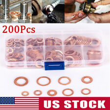 200pcs Various Sizes Brass Flat Washer Copper Crush Washers Gasket Seal Ring