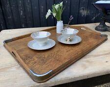Traditional Large Vintage Oak & Veneer Tea Tray / Drinks Tray