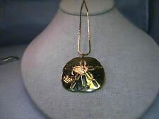 "Vintage Gold tone  Sand Dollar Pendant on  a 28"" Herringbone 2mm necklace"