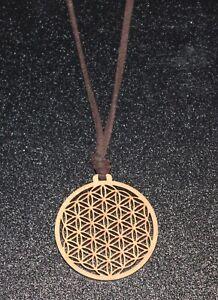 Halskette Lebensblume Anhänger Holz Amulett Blume des Lebens
