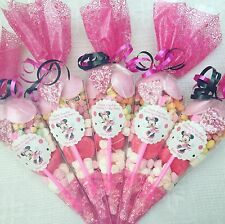 10 X Minnie Mouse Themed  Pre Filled Party Cones Personalised+Free Sweety Bag