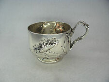 Stunning French c.1900 Art Nouveau Solid Silver Coffee Cup