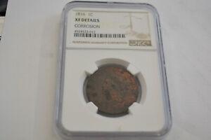 1816 N-5 R-3 NGC XF 45 Matron - Coronet Head Large Cent Coin 1c Details Looks AU