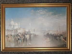 Venice Painting Italy J.M.W Turner Rare Antique in Vintage Ornate Frame