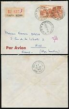 FRENCH CONGO 1953 REGISTERED AIRMAIL AEF 50F SINGLE FRANKING