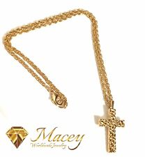 18K GOLD SILVER NUGGET CROSS PENDANT NECKLACE 20 INCH ROPE CHAIN INCLUDED