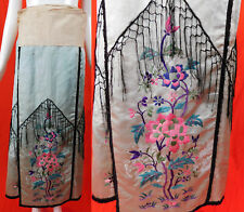 Vintage Antique Chinese Blue Silk Damask Floral Embroidered Wrap Wedding Skirt