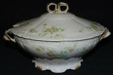 Theodore Haviland Limoges France Family/ Cream Soup Tureen -Pink & Green Daisies