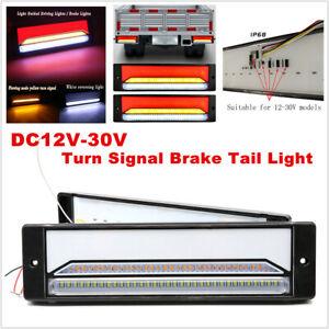 2PC 12-30V Halo Neon Flowing Light LED Trailer Truck Turn Signal Brake Tail Lamp