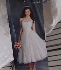 933 ALFRED ANGELO TEA LENGTH  2566T SZ 10 IVORY $1377  WEDDING GOWN DRESS