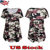 Women Summer Camouflage Short Sleeve Casual T Shirt Blouse Fashion Loose Tee New