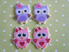 4 x Cute Owl Flatback Planar Resin, Embellishment, Hair bow, Crafts *UK*