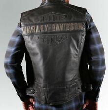 Harley Davidson Leather Vest Cafe Racer Black Biker Genuine Leather Vest
