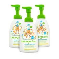 Babyganics Baby Shampoo and Body Wash, Fragrance Free, 16 oz 3 pack