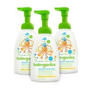 BabyGanics Baby Shampoo Body Wash Fragrance 16oz Pump Bottle 3 Count