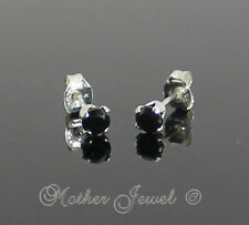 3mm Real Solid 925 STERLING SILVER Black Simulated Diamond Earrings Unisex Studs