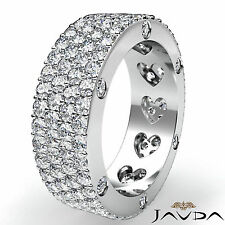 Round Diamond Womens Wedding Band Eternity Engagement Pave Ring Platinum 3.5Ct