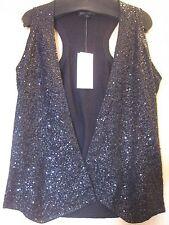 $338 BNWT  EILEEN FISHER Italian Silk Cotton Sequined BLACK Racerback Vest XL 1X