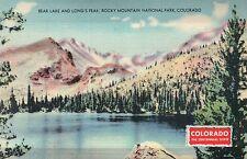 Bear Lake & Long's Peak Rocky Mountain National Park Colorado Old Linen Postcard