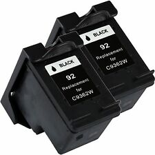 2 Pk Black Ink for HP 92 Photosmart C3135 C3140 C3150 C3180 C4180 7850
