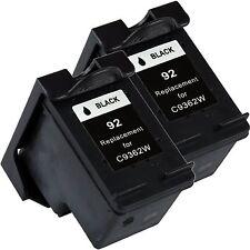 2 Pk Black Ink for 92 Photosmart C3135 C3140 C3150 C3180 C4180 7850