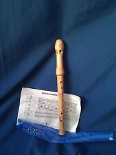 WOOD RECORDER, 2 PIECE MAPLE SOPRANO C, FINGERING CHART & CASE- NEW!