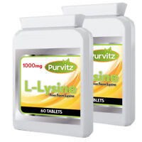 L-Lysine 1000mg 120 Tablets Cold Sores Amino Acid Supplement Purvitz UK Made