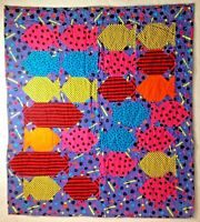 "School of Fishy Wall or Baby Quilt Bright Colors 28"" X 32"" Machine Quilted"