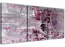 Plum Grey Abstract Painting Wall Art Print Canvas - 3 Panel - 125cm Wide - 3359