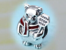 Authentic Pandora SILVER Charm Bead 796466 CHRISTMAS Polar Bear Santa Stops here