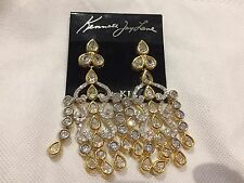 Kenneth Jay Lane Gold/Silver Chandelier Earrings. New $325. Perfect Prom/Wedding