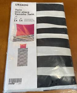 Ikea URSKOG Twin Duvet Cover Black/White Zebra Stripe Pink Pillowcase 303.938.88