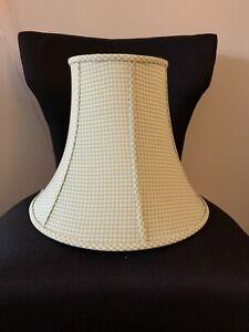 "Pottery Barn Kids Green White Gingham Fabric 15"" Bell Lamp Shade Bedroom Nursery"