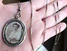 pendentif pendeloque ancienne porte photo biface ARGENT +chaine sautoir ART DECO