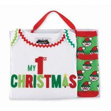 NWT Mudpie My 1st Christmas Crawler & Sock Set (0-6 months)