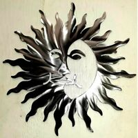 24 Inch Celestial New Sun FACE Polished  Metal Wall Art modern Unique Decor