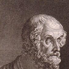Portrait XIXe Homère Ὅμηρος Homer Гомер Gravure par Bourdet