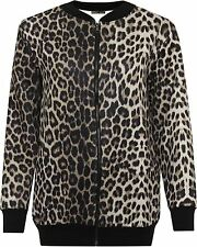 New Ladies Plus Size Leopard Print Zip Up Ribbed Bomber Blazer Jacket 14-28