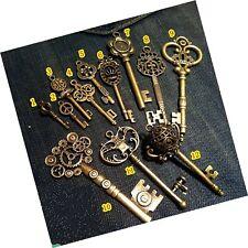 Vintage Skeleton Keys Charm Set Royal Key Antique Bronze 12 Different Style 12pc