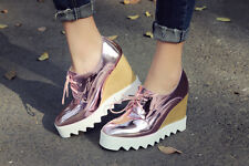 Spring Womens Lace Up High Heels Shoes Wedge Patent Leather Creepers Pumps