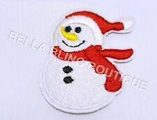 1 BOYS SNOWMAN CHRISTMAS XMAS KIDS IRON ON SEW ON PATCH GIRLS APPLIQUE