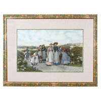 """""""The Berry Pickers"""" by Jennie Brownscombe Colored Aquatint Etching Framed 33x44"""