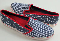 Sperry Top Sider Women Sz 8.5M Red White Blue Anchors Stars Canvas Slip On Shoes