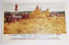 Case Steam Engine Tractor Threshing Machine Separator Postcard 18 brake HP 1909