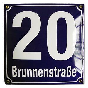 Personalised enamel address plaque 25x25cm WARRANTY 10y house sign number street