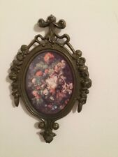 Vintage Wall Picture Floral Victorian Era Metal Frame Glass Front Italy Home Dec