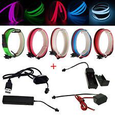 1M Flexible LED Neon Glow EL Wire Tape Tube Strip Xmas Party Deco+ Controller
