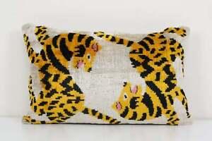 Tiger Ikat Velvet Pillow, Silk Lumbar Cushion Cover, Yellow Animal Lumbar Pillow
