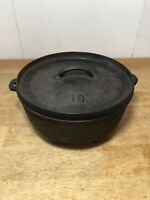Vintage Lodge #10 10 CO D Cast Iron Shallow Camp Dutch Oven w/ Lid