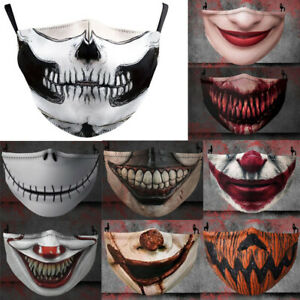 Halloween Horror Washable Reusable Face Mask 3D Printing Funny Protection Cover